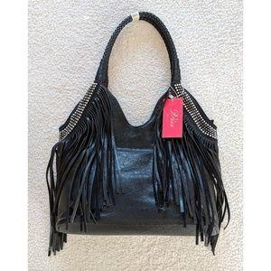 NWT Fringe Rhinestone Faux Leather Shoulder Bag